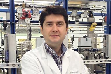 A photograph of Javier García-Martínez in the lab