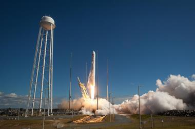 Antares rocket, with the Cygnus cargo spacecraft aboard, is seen as it launches