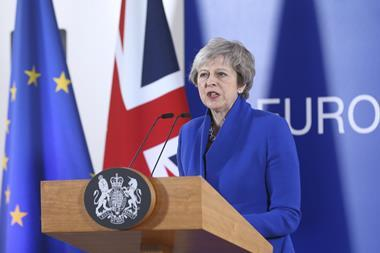 A picture of Theresa May at the Brexit Summit Press Conference