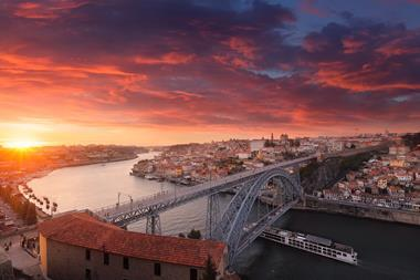 A picture of sunset over Porto