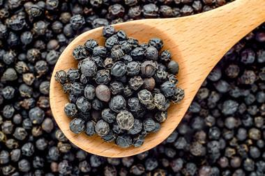 Peppercorns in a wooden spoon