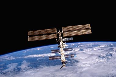 A photograph of the International Space Station