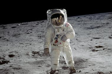 Astronaut Buzz Aldrin walking on the surface of the moon during the Apollo 11 mission