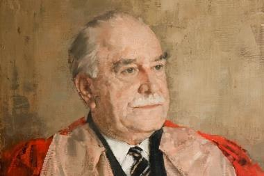 A portrait of Ronald Norrish painted by William Evans in 1969