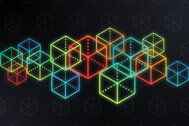 Cube Blockchain Abstract. Blockchain and cryptocurrency dark isometric cubes background.