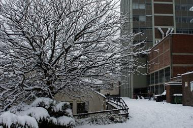 A picture of the Chemistry Department of Bangor University in Winter