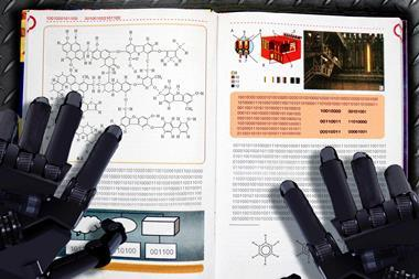 An image showing robot arms over a chemistry textbook written as strings of 1 and 0