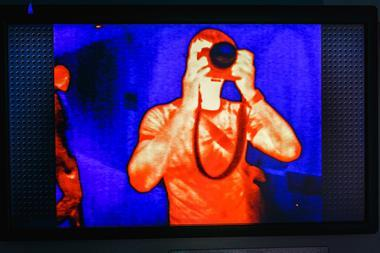 A picture showing how a thermo camera sees us