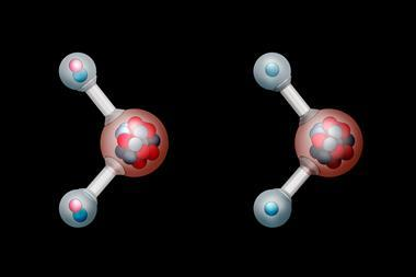 An image showing molecular models of heavy water and water