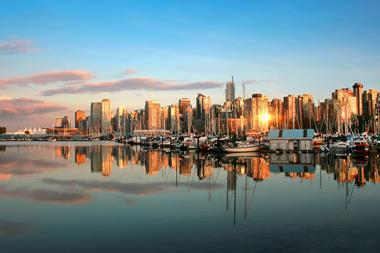 A photograph of the Vancouver skyline