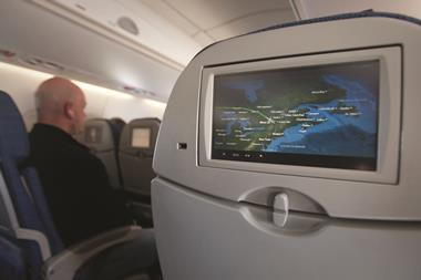 0418CW - Careers leader - In-flight entertainment screen showing real-time flight map