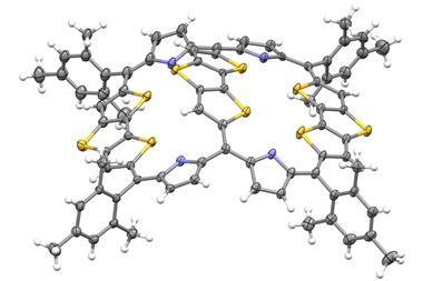 Top view of the single-crystal X-ray diffraction structure of a dithienothiophene (DTT)-bridged [34]octaphyrin