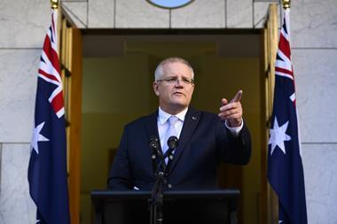 An image showing Scott Morrison announching his cabinet in the Prime Ministers Courtyard at Parliament House in Canberra, Sunday, 26 May 2019