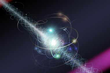 Artist's representation, an electron travels between two lasers in an experiment. The electron is spinning about its axis as a cloud of other subatomic particles are constantly emitted and reabsorbed.