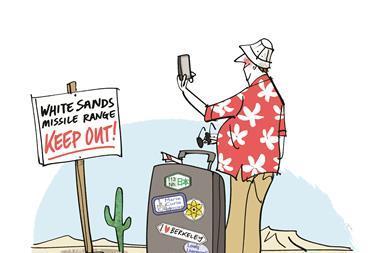 An illustration of a tourist at White Sands missile range