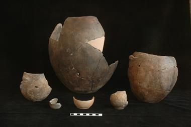 A photograph of a collection of Neolithic pottery excavated from Çatalhöyük