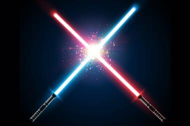 Illustration showing red and blue light sabers clashing in space