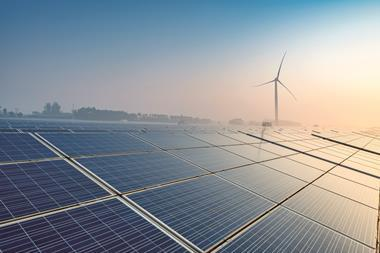 Solar panels and wind turbines for renewable energy