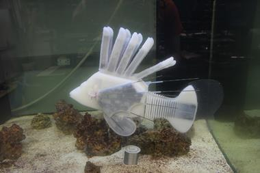 An image showing an assembled soft robotic fish