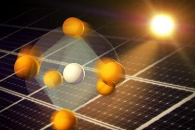 Illustration showing how atoms in perovskite materials respond to light