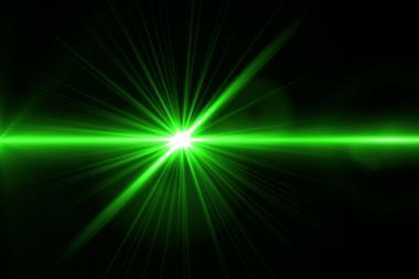 An image of green laser light