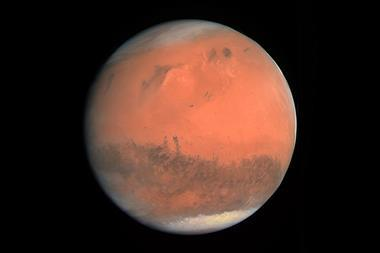 An image showing the true-colour image of Mars seen by OSIRIS