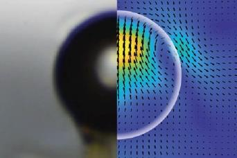 An image showing a shadowgraph (left) and PIV (right) measurements of a 0.5 μL oil drop