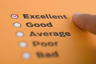 An image showing bullet points with the words Excellent, Good, Average, Poor and Bad written down; Excellent is ticked