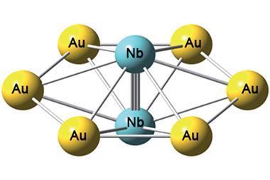 Niobium-gold compound showing the niobium triple bond