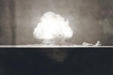 First Atomic Explosion on July 16, 1945. First Atomic Explosion on July 16, 1945. Photograph taken at 9 seconds after the initial Trinity detonation shows the Mushroom cloud. Manhattan Project. Alamogordo, New Mexico