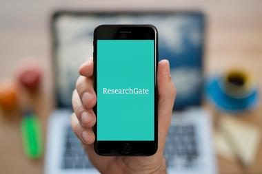 A picture showing the Research gate app on a phone screen
