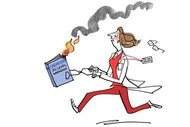 Illustration of teacher running with burning chemistry text book