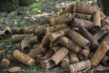 Pile of rusty First World War One artillery grenade shells