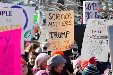 Banners supporting science in anti-Trump protests
