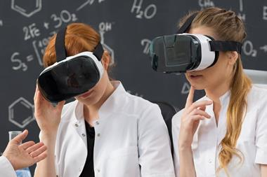 School students using VR in a chemistry lesson