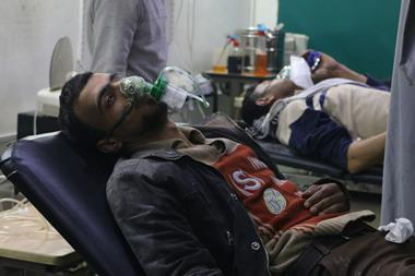 A photograph of people receiving treatment following the alleged chemical gas attack in Eastern Ghouta, Syria.