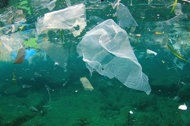 Plastic rubbish pollution in ocean