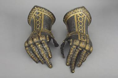 The gauntlets from a suit of armour - the left one was analysed