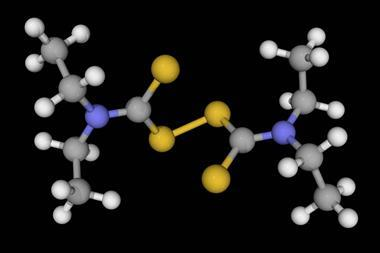 An image showing a molecular model of disulfiram