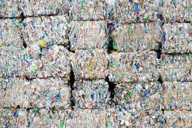 picture of recycled plastic waste pressed to bales