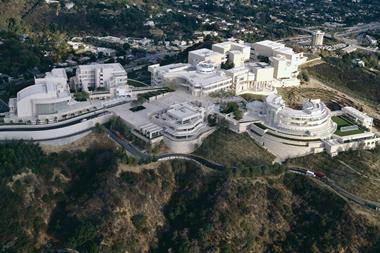 Aerial shot of the Getty Conservation Institute campus