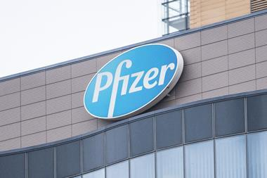 A picture of a Pfizer sign