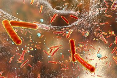 Antibiotic resistant bacteria inside a biofilm, 3D illustration