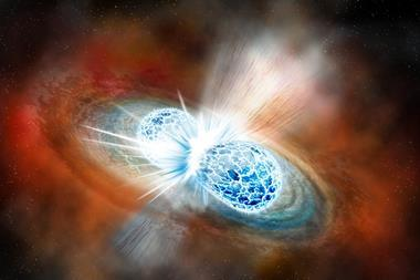 Artist's concept of the explosive collision of two neutron stars