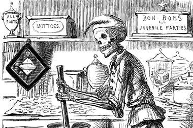 A skeletal form mixes ingredients for sweets, surrounded by vats of dangerous chemicals