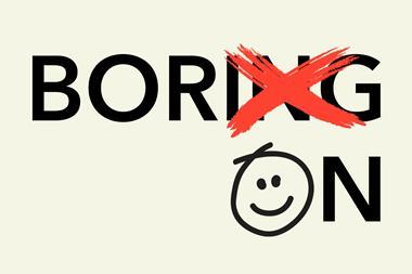"An image showing the word ""Boring"" with the letters ""ing"" crossed out and replaced by the letters ""on""; the letter O is rendered as a smiley face"