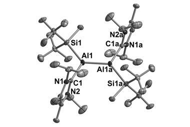 Molecular structure of dialumene 4 in the solid state (thermal ellipsoids drawn at the 50% probability level; H-atoms omitted for clarity