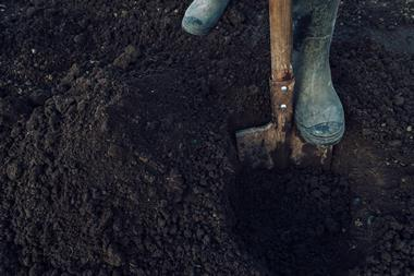 Digging a hole in soil