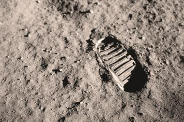 An image showing the first boot print on the Moon