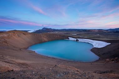 Viti crater at dusk, Krafla volcanic area, Myvatn, Nordhurland Eystra, Iceland